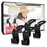 Starling's Headrest Hooks for Car - Back Seat Organizer Hanger Storage Hook, Car SUV(Set of 4) Black, Purse Hook for Car Handbag Clothes Umbrellas Coats Grocery Bags & More!
