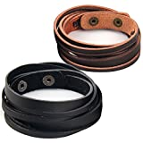 Chic Exquise Designs Handmade Genuine Vintage Leather Wrist Cuff Wrap Bracelet Adjustable (C: 2 Pcs set (Brown and Black))