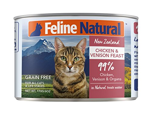 Feline Natural Canned Cat Food Perfect Grain Free, Healthy, Hypoallergenic Limited Ingredients - BPA-Free Wet Cat Food - Nutrition for All Cat Types - Chicken & Venison - 6oz (24pack)