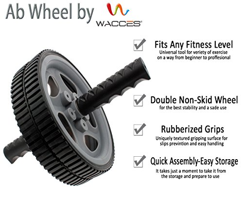 Wacces AB Roller Wheel Power - Exercise & Fitness Wheel With Easy Grip Handles Equipment For Core Training & Abdominal Workout At Home or Gym (Grey)