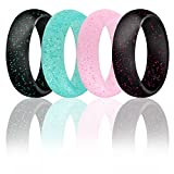 ROQ Silicone Wedding Ring for Women, Set of 4 Silicone Rubber Wedding Bands - Black with Glitter Sparkle Pink, Glitter Teal Turquoise, Glitter Pink - Size 6