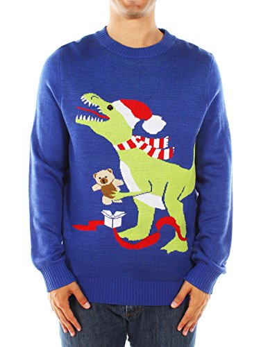 Men's Ugly Christmas Sweater - T-Rex Sweater Blue Size XXL