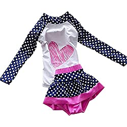 Baby Girl Swimsuit Two Pieces Toddler Kid Long Sleeve Rash Guard UPF 50+ (3-4 years old/M)