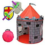Kiddey Knight's Castle Kids Play Tent -Indoor & Outdoor Children's Playhouse -- Durable & Portable with Free Carrying Bag - 'BONUS' Shield and Sword Set - Makes Perfect Gift for Boys & Girls