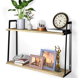 2 Tier Wall Bookshelves, HuTools Floating Shelves for Bedroom, Kitchen, Living Room, Bathroom Decor, Wall Mounted…