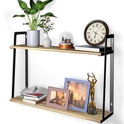 2 Tier Wall Bookshelves, HuTools Floating Shelves for Bedroom, Kitchen, Living Room, Bathroom Decor, Wall Mounted Bookshelf Rustic Style