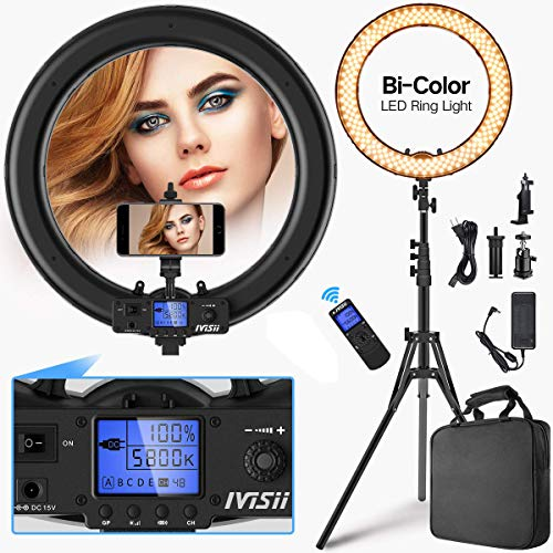 Ring-Light-with-Wireless-Remote-ControllerIVISII-19-inch-LED-Ring-Light-with-LCD-Display-Adjustable-Color-Temperature-3000K-5800K-with-Stand-for-YouTube-Makeup-Video-Shooting-Vlog-Selfie