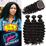 Brazilian Deep Wave Bundles with Closure Unprocessed Brazilian Virgin Human Hair Deep Curly Bundles Weave with Free Part Lace Closure Natural Black (10 12 14+10 Closure)