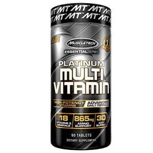 Muscletech Essential Series Platinum Multi Vitamin (18 Vitamins & Minerals, 865mg Amino Support) – 90 Tabs