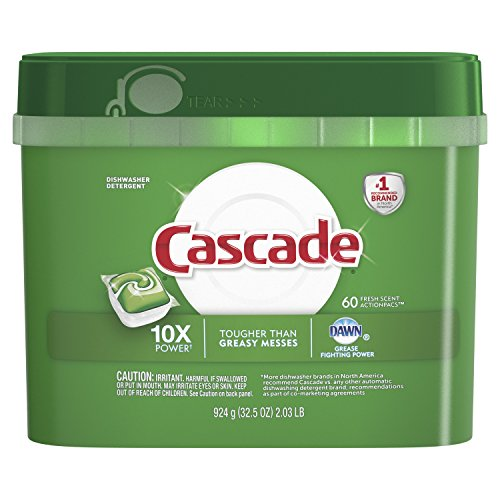 Cascade ActionPacs Dishwasher Detergent, Fresh Scent, 60 Count (Pack May Vary)