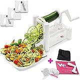 WonderVeg - Veggie Spiralizer Vegetable Slicer - Zucchini Spaghetti Pasta Noodle Maker - Cleaning Brush, Mini Recipe Book, 6 Spare Parts Included