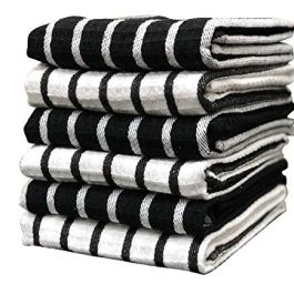 PIXEL HOME DECOR Cotton Cleaning Towel (Pack of 6, Black & White)