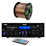 Pyle PDA6BU amplifier receiver stereo, bluetooth, FM radio, USB flash reader, Aux input (3.5mm) LCD display, 200 watt - bundle with Enrock 50 feet 16gauge speaker wire
