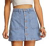 SheIn Women's Button Front Denim A-Line Short Skirt - Light Blue Medium