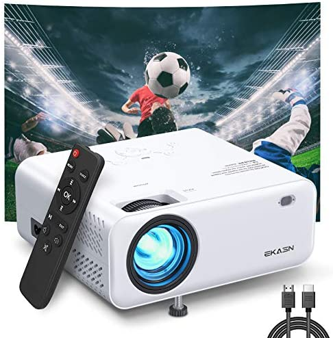 """Mini Projector, EKASN Creative E450 Portable Video Projector Works for iPhone, 5500Lux 1080P HD and 200"""" Supported Phone Projector for Outdoor Movies & Home Cinema, with TV Stick, HDMI, VGA, AV, USB"""