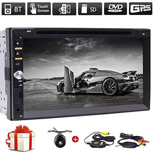 """Free Wireless Backup Camera & Remote Control+ 7"""" Wince Double Din Car Radio in Dash FM/AM Multi-Touchscreen GPS Navigation Car DVD Player Headunits with Bluetooth Subwoofer USB SD SWC + Free Map Card"""