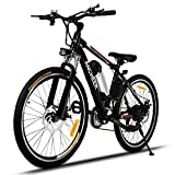 ANCHEER Power Plus Electric Mountain Bike, 26'' Electric Bike with 36V 8Ah Lithium-Ion Battery, Shimano 21 Speed Shifter (Black)