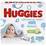 HUGGIES Refreshing Clean Baby Wipes, Disposable Soft Pack (6-Pack, 288 Sheets Total), Scented, Alcohol-Free, Hypoallergenic, Size 1