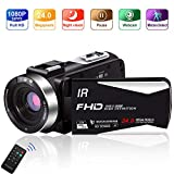 Video Camera Vlogging Camera Camcorder Full HD 1080P 30FPS 24.0 MP IR Night Vision YouTube Camera Supports Time Lapse & Motion Detection Vlog Camera with 3' LCD Screen Remote Control (5IA)