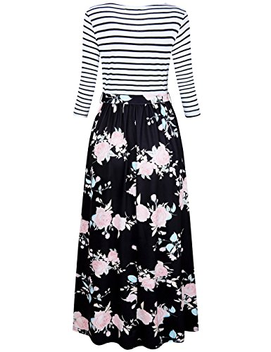 4d1847cd5 HNNATTA Women 3/4 Sleeve Striped Floral Print Tie Waist Party Maxi Dress  With Pockets - My Maxi Dress