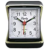 LA Crosse Technology Advance Black Case Quartz Analog Clamshell Travel Alarm Clock