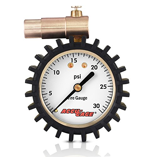 Accu-Gage Fat Bike Presta Valve Low Pressure Bicycle Tire Gauge, 30psi