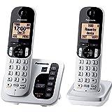 Panasonic KX-TGC222S DECT 6.0 2-Handset Landline Telephone with Answering Machine (Renewed)
