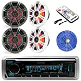 Kenwood Marine Boat Audio Bluetooth USB Receiver Bundle Combo with 4x Kicker KM654 6.5' Inch Audio Multi Color LED Speakers W/ Light Remote Controller, 14-Gauge 50 Foot Speaker Wire