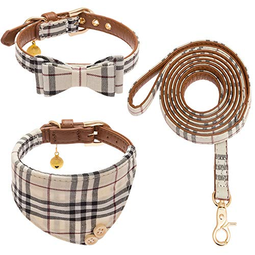 CHERPET Bow Tie Dog Collar and Leash Set - Cute Plaid Bandana Necktie Adjustable...