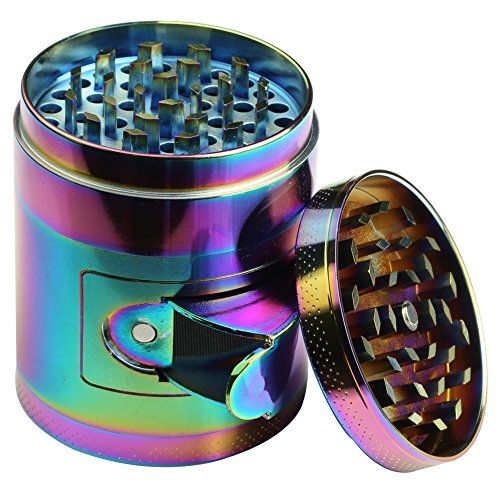 DCOU New Design rainbow Herb Grinder 2.2 Inches 4 Piece Grinder with Pollen Catcher Durable Zinc Alloy Herb Spice Heavy Duty Grinder with scrapper and Easy Access Window