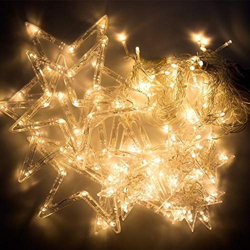 51HXkb9ukQL - Home Solution's -Star Light Curtain Decorations (12 Star,138 LED,8 Flashing Modes in Warm White Color)