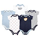Luvable Friends Unisex Baby Cotton Bodysuits, Baseball Short Sleeve 5 Pack, 12-18 Months (18M)