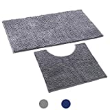Noahas 2 Piece Shag Bathroom Rugs Set, Soft Non Slip Plush Bath Mat and U-Shaped Toilet Mat. Super Water Absorbent Machine-Washable Chenille Bath Rug for Toilet, 20' x 32'+20'x 20', Grey