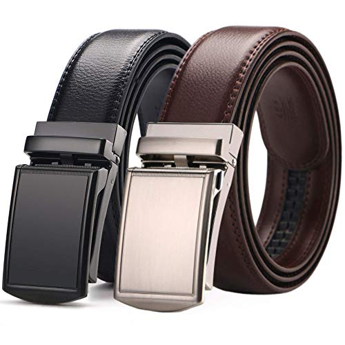 [2 Pack] Men's Belt,West Leathers Slide Ratchet Belt for Men with Genuine Leather Perfect Fit Waist Size up to 44 inches