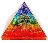 7 Chakra Crystal Tree of Life Orgone Pyramid Kit/Includes 4 Crystal Quartz Energy Points/EMF Protection Meditation Yoga Energy Generator ...
