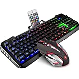 Gaming Keyboard and Mouse Combo,SADES Gaming Mouse and Keyboard,Wired Keyboard with Colorful Lights and Mouse with 4 Adjustable DPI for Gaming for PC/laptop/MAC/win7/win8/win10