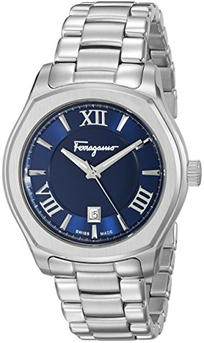 51Hcm%2B7mg1L Round silver-tone dress watch featuring navy dial, sunray ring, date window at 6 o'clock, partial Roman numerals (with watchmaker's four), and silver-tone hands 40 mm stainless steel case with mineral dial window Ronda 505 Swiss quartz movement with analog display