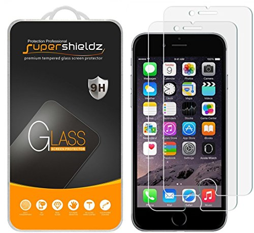 [2-Pack] Supershieldz for iPhone 6 / 6S Tempered Glass Screen Protector, Anti-Scratch, Bubble Free, Lifetime Replacement