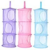 KisSealed 3 Pcs Hanging Mesh Space Foldable 3 Compartments Storage Basket Saver Bags Organizer for Travel,Kids Room,Bathroom and More