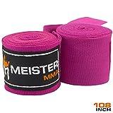 Meister Junior 108' Elastic Cotton Hand Wraps for MMA & Boxing (Pair) - Purple