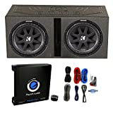 Kicker 2 10C124 1000W 12' Subwoofers + Vented Lined Box Enclosure + Amp + Wire