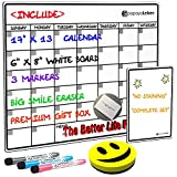 Magnetic Dry Erase Calendar for Refrigerator 17'x13' with Premium Flat Box Large Horizontal Fridge Calendar Monthly Planner Organizer White Board | 17x13 Board + 6x8 Board + 3 Markers + Smile Eraser