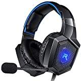 RUNMUS Stereo Gaming Headset for PS4, Xbox One, Nintendo Switch, PC, PS3, Mac, Laptop, Over Ear Headphones PS4 Headset Xbox One Headset with Surround Sound, LED Light & Noise Canceling Microphone