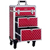 SONGMICS Makeup Case Rolling Trolley Cosmetic Luggage Case/Extra Large for Hairdressing & Makeup with Removable wheels, Sliding Drawers, Reinforced Rod Easily Portable for Travel, Red UJHZ08RDV1