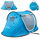 Pop-up Tent an Automatic Instant Portable Cabana Beach Tent - Suitable for Upto 2 People - Doors on Both Sides - Water-Resistant & UV Protection Sun Shelter - with Carrying Bag (Sky Blue)