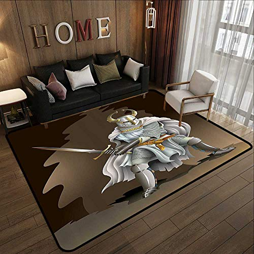 Kids Floor mats,Medieval Decor Collection,Illustration of Heavy Armored Knight of Kingdom Empire in The Past Times Culture,White Brown 71'x 106' Bedroom Living Room Area Rug
