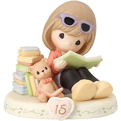 Precious Moments 162014B Brunette Girl Growing In Grace, Age 15 Birthday Bisque Porcelain Figurine