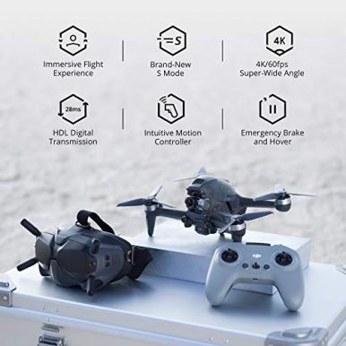 DJI-FPV-Combo-First-Person-View-Drone-UAV-Quadcopter-with-4K-Camera-Brand-New-S-Flight-Mode-Super-Wide-150-FOV-HD-Low-Latency-Transmission-Emergency-Brake-and-Hover-Gray