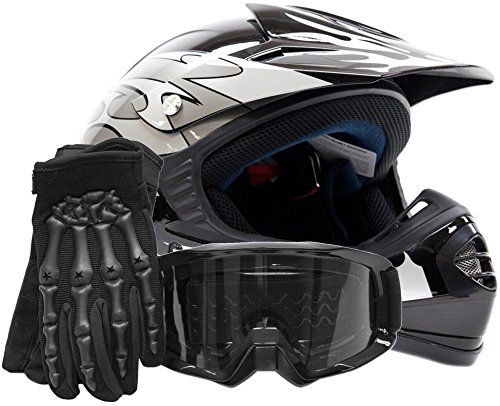 Youth Kids Offroad Gear Combo Helmet Gloves Goggles DOT Motocross ATV Dirt Bike Motorcycle Silver Black - Medium