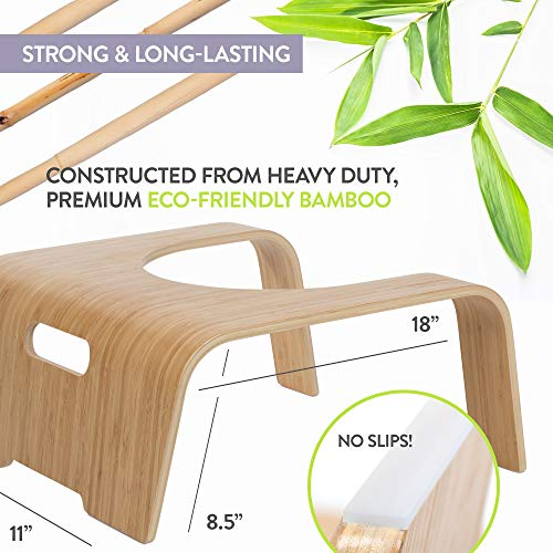 ToiletTree Products Original 100% Natural Bamboo Wood Bathroom Toilet Stool, 8.5 inch Height